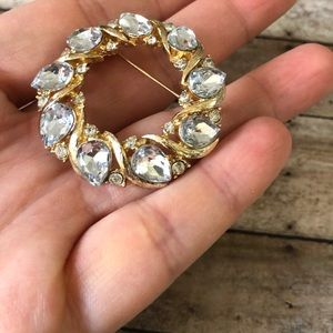 LC brooch with clear crystals